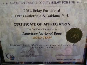 Relay for Life Fundraising Plaque